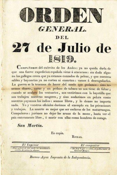 Orden General del 27 de Julio de 1819